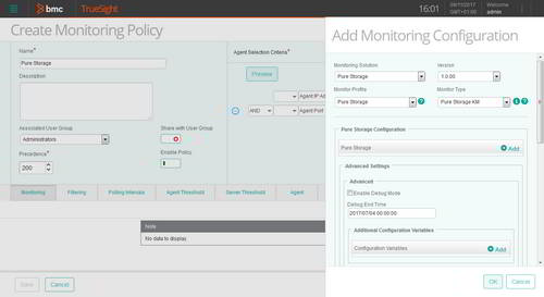 Quickly configure the monitoring any Pure Storage flash array that supports the Pure Storage REST API version 1.6 and higher.